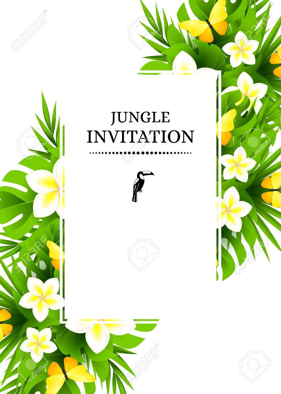 Tropical hawaiian background with jungle palm tree leaves exotic tropical hawaiian background with jungle palm tree leaves exotic flowers and yellow butterflies vertical stopboris Gallery