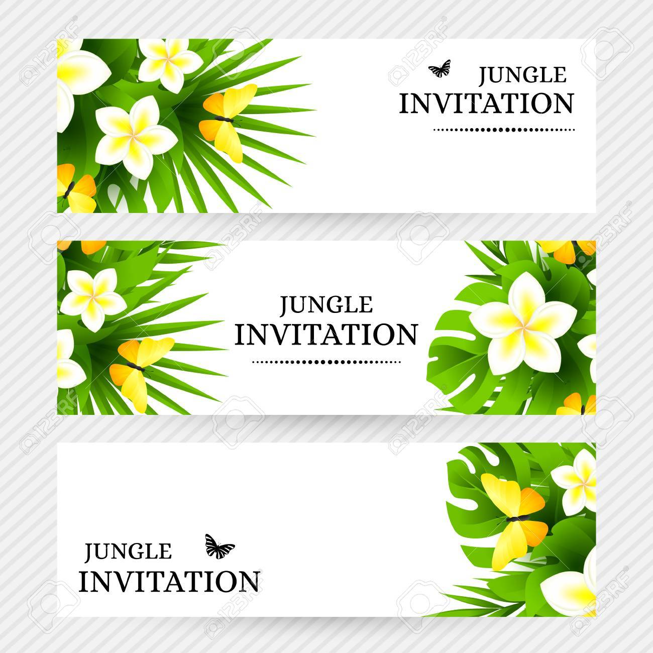 Summer tropical hawaiian background with jungle palm tree leaves banco de imagens summer tropical hawaiian background with jungle palm tree leaves exotic flowers and yellow butterflies horizontal vector invitation stopboris Choice Image