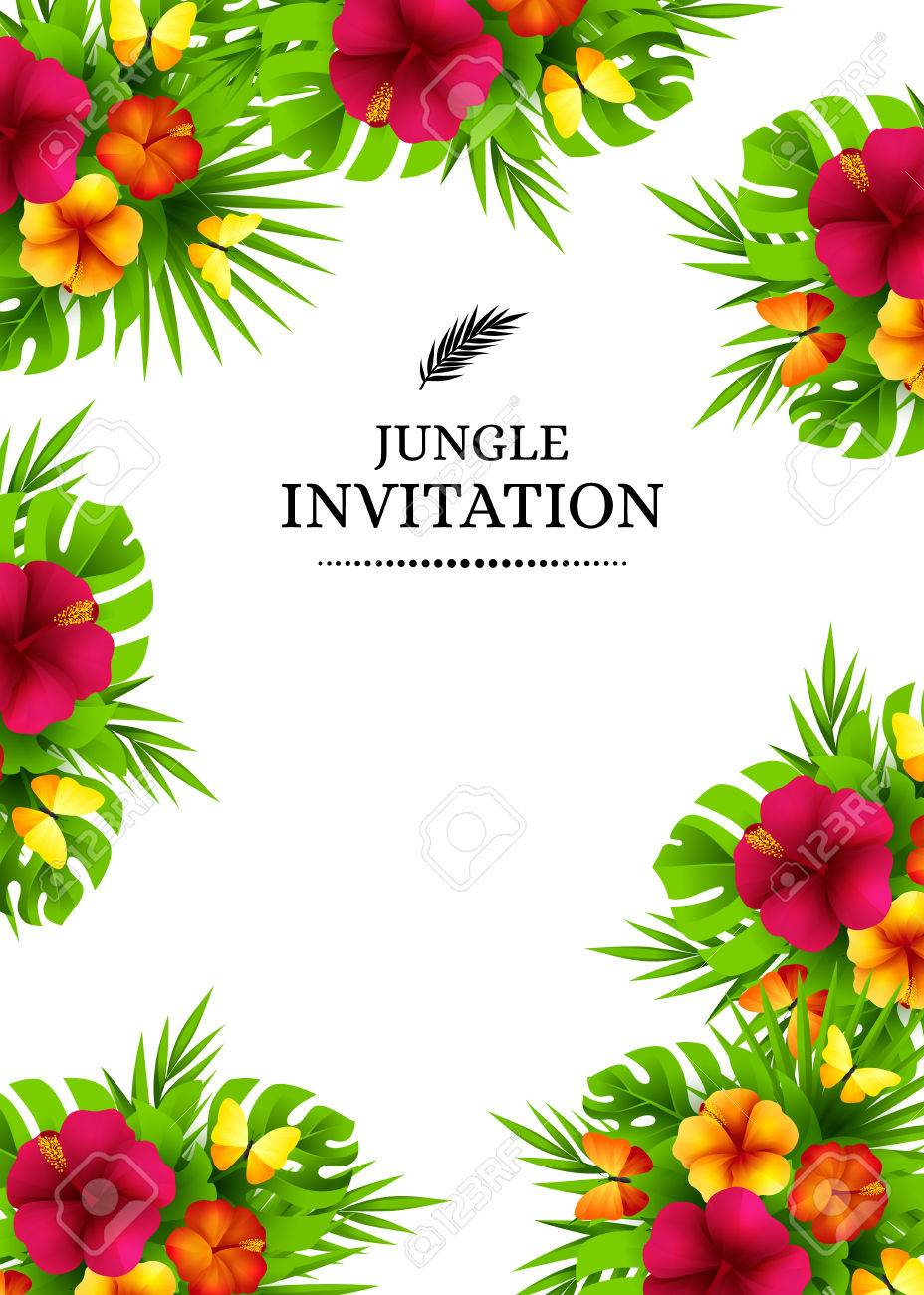 Tropical hawaiian background with jungle palm tree leaves exotic tropical hawaiian background with jungle palm tree leaves exotic flowers and butterflies vertical vector stopboris Gallery