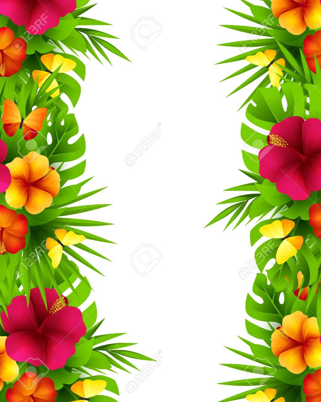 Fondo Hawaiano Tropical Con Hojas De Palmera De La Selva Flores