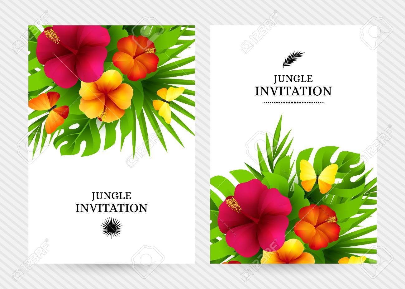 Tropical hawaiian background with jungle palm tree leaves, exotic flowers and butterflies. Vertical vector invitation banners with floral decorations and copy space - 62916070