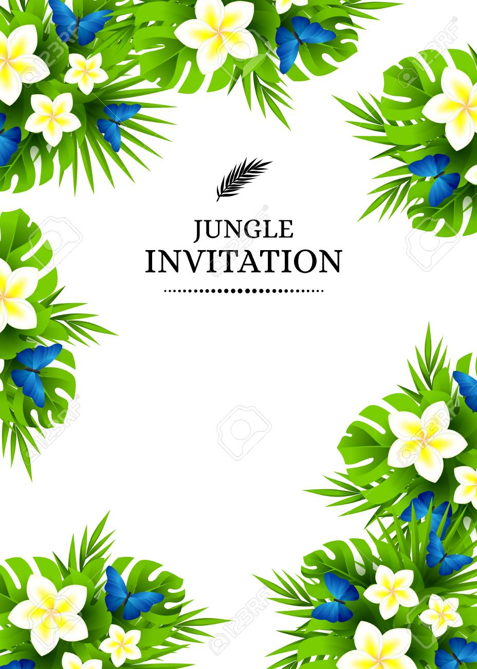 Tropical hawaiian background with jungle palm tree leaves exotic tropical hawaiian background with jungle palm tree leaves exotic flowers and blue butterflies vertical stopboris Images