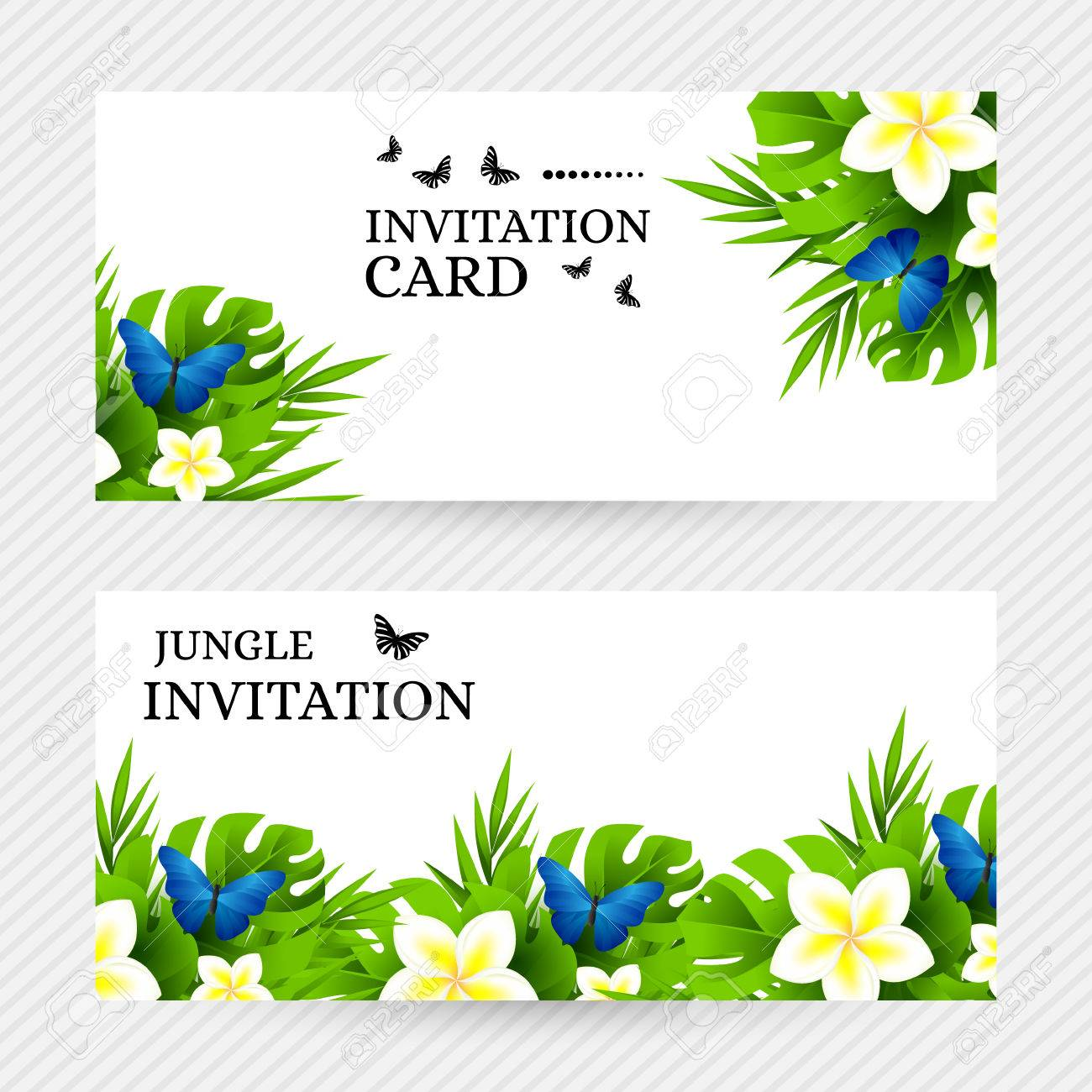 Summer tropical hawaiian background with jungle palm tree leaves summer tropical hawaiian background with jungle palm tree leaves exotic flowers and blue butterflies stopboris Images