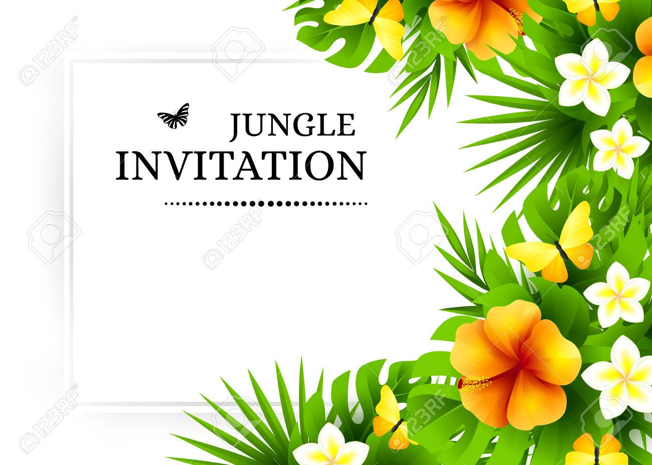 Summer tropical hawaiian background with jungle palm tree leaves summer tropical hawaiian background with jungle palm tree leaves exotic flowers and yellow butterflies stopboris Gallery