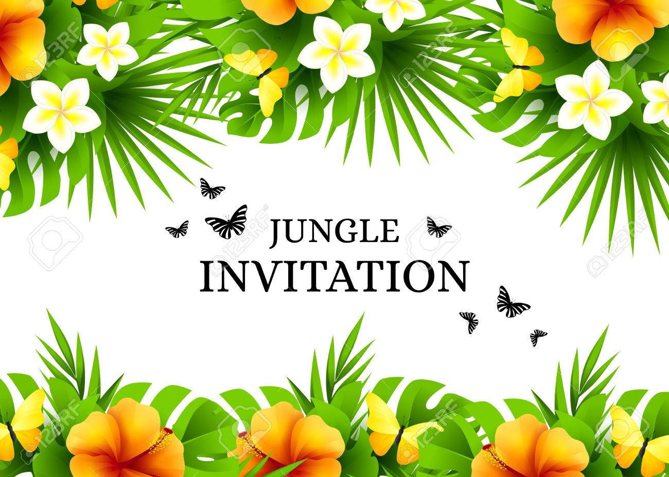 Summer tropical hawaiian background with jungle palm tree leaves, exotic flowers and yellow butterflies. Horizontal vector invitation banners with hibiscus floral decorations and copy space - 62887571
