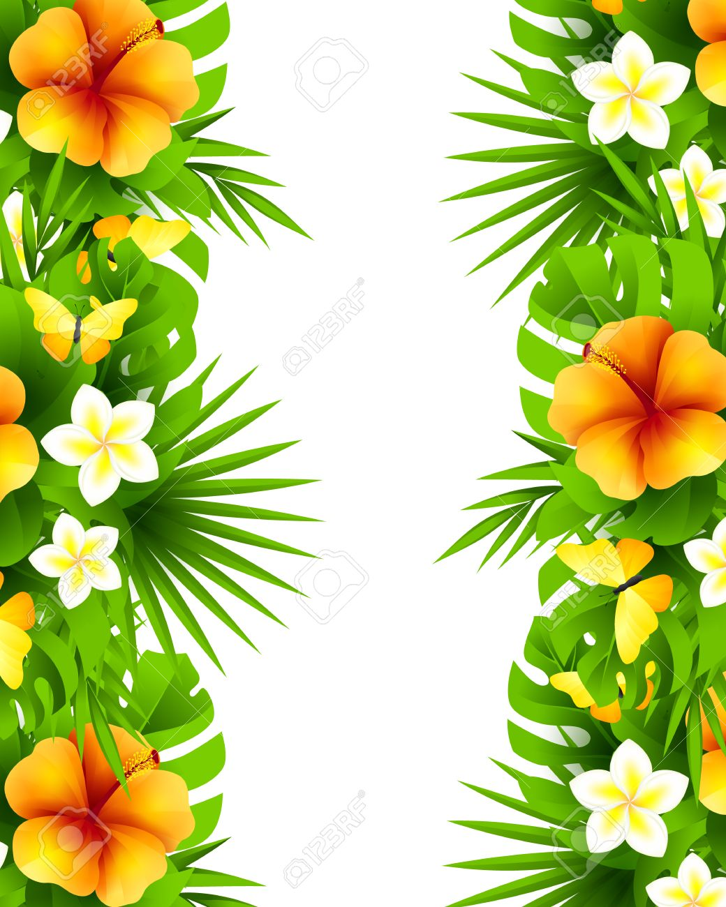 Tropical hawaiian background with jungle palm tree leaves exotic tropical hawaiian background with jungle palm tree leaves exotic flowers and yellow butterflies vertical izmirmasajfo