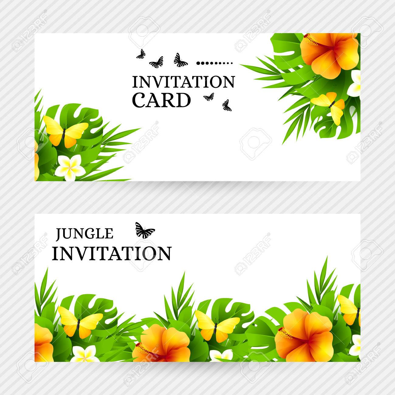 Summer tropical hawaiian background with jungle palm tree leaves summer tropical hawaiian background with jungle palm tree leaves exotic flowers and yellow butterflies stopboris Choice Image