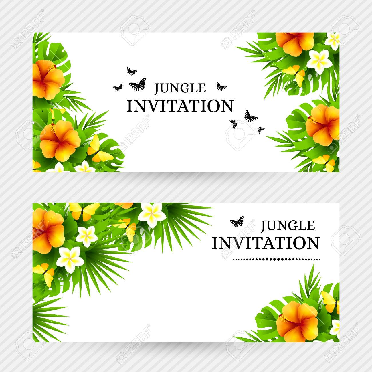 Summer tropical hawaiian background with jungle palm tree leaves summer tropical hawaiian background with jungle palm tree leaves exotic flowers and yellow butterflies stopboris Images