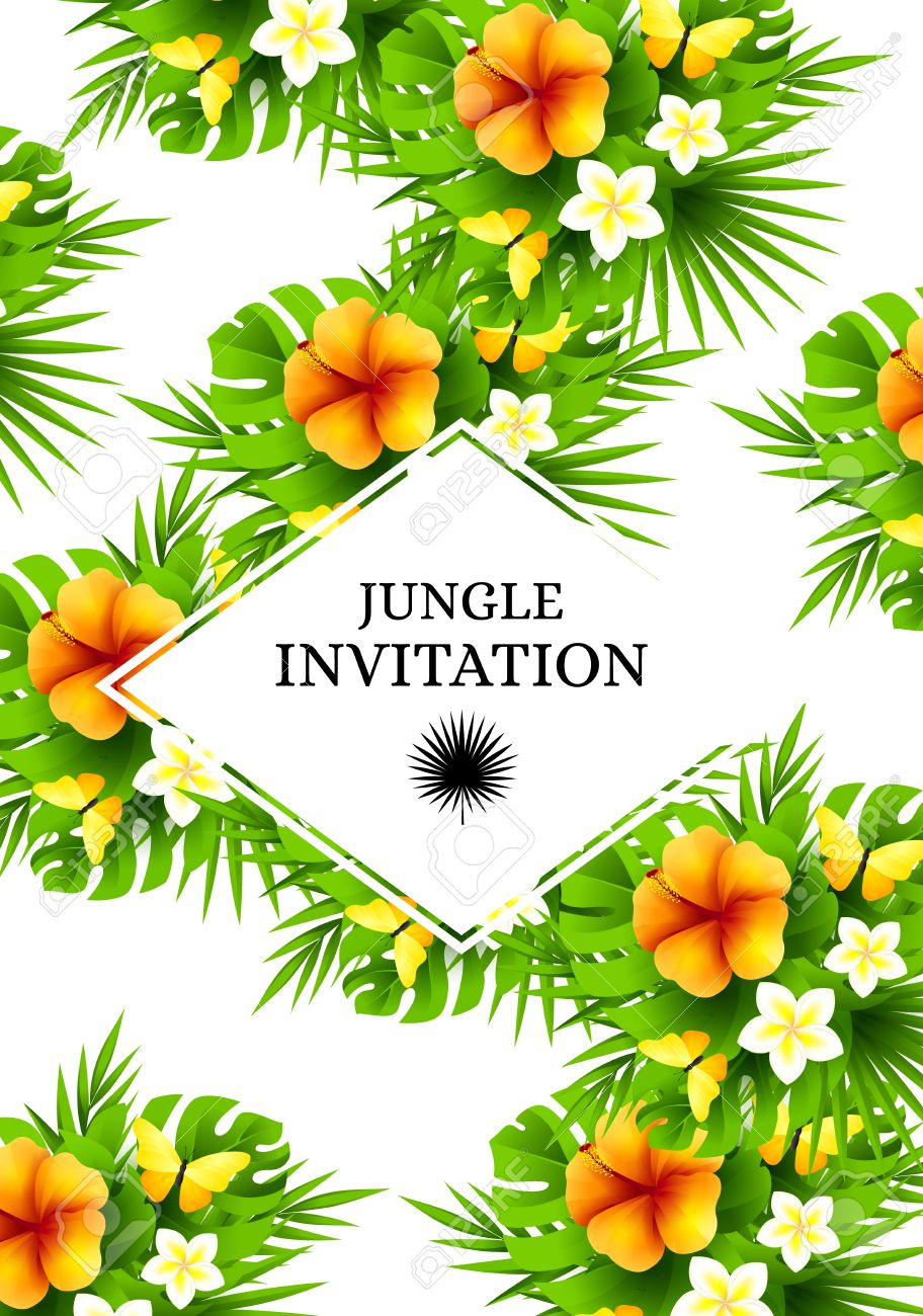 Tropical Hawaiian Background With Jungle Palm Tree Leaves Exotic