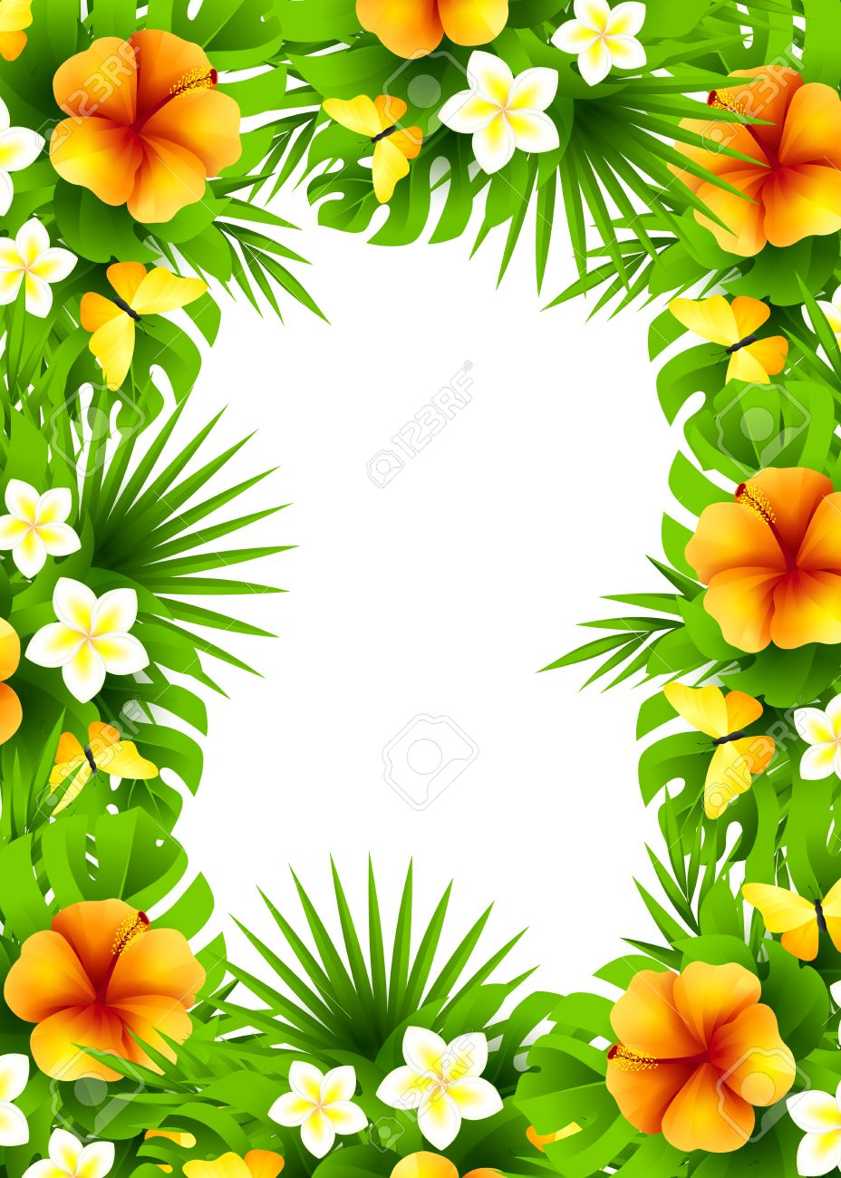 Tropical hawaiian background with jungle palm tree leaves exotic tropical hawaiian background with jungle palm tree leaves exotic flowers and yellow butterflies vertical izmirmasajfo Images