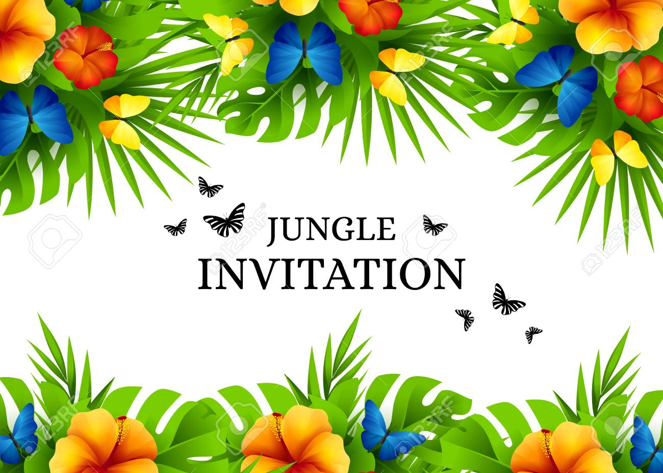 summer tropical hawaiian background with jungle palm tree leaves