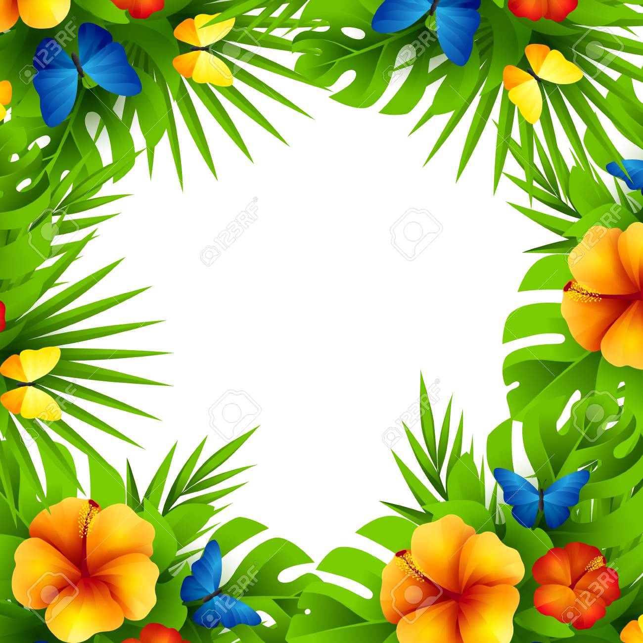 Summer tropical hawaiian background with jungle palm tree leaves, exotic flowers and rainbow butterflies. - 62916743
