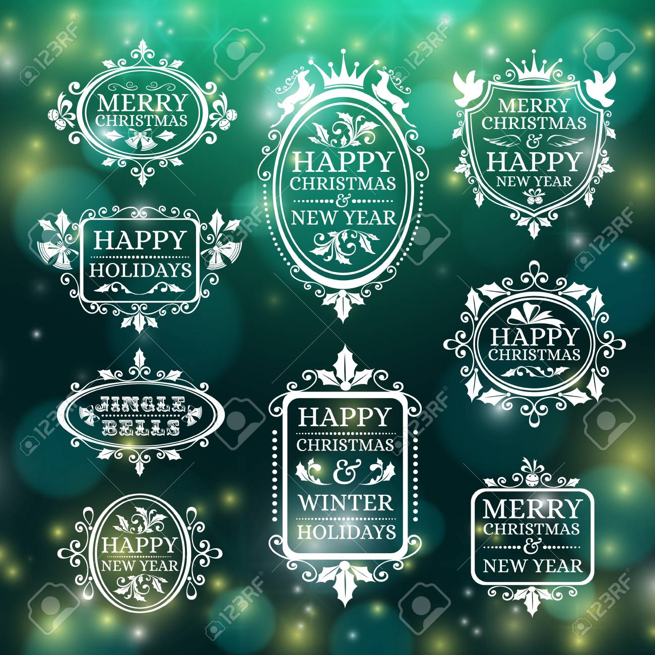 Set Of Christmas Decorations, Holiday Frames With Wishes Royalty ...