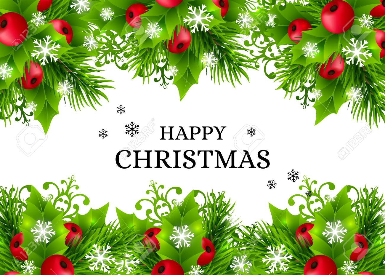 Christmas Leaves.Christmas Background With Fir Branches Holly Leaves Red Holly