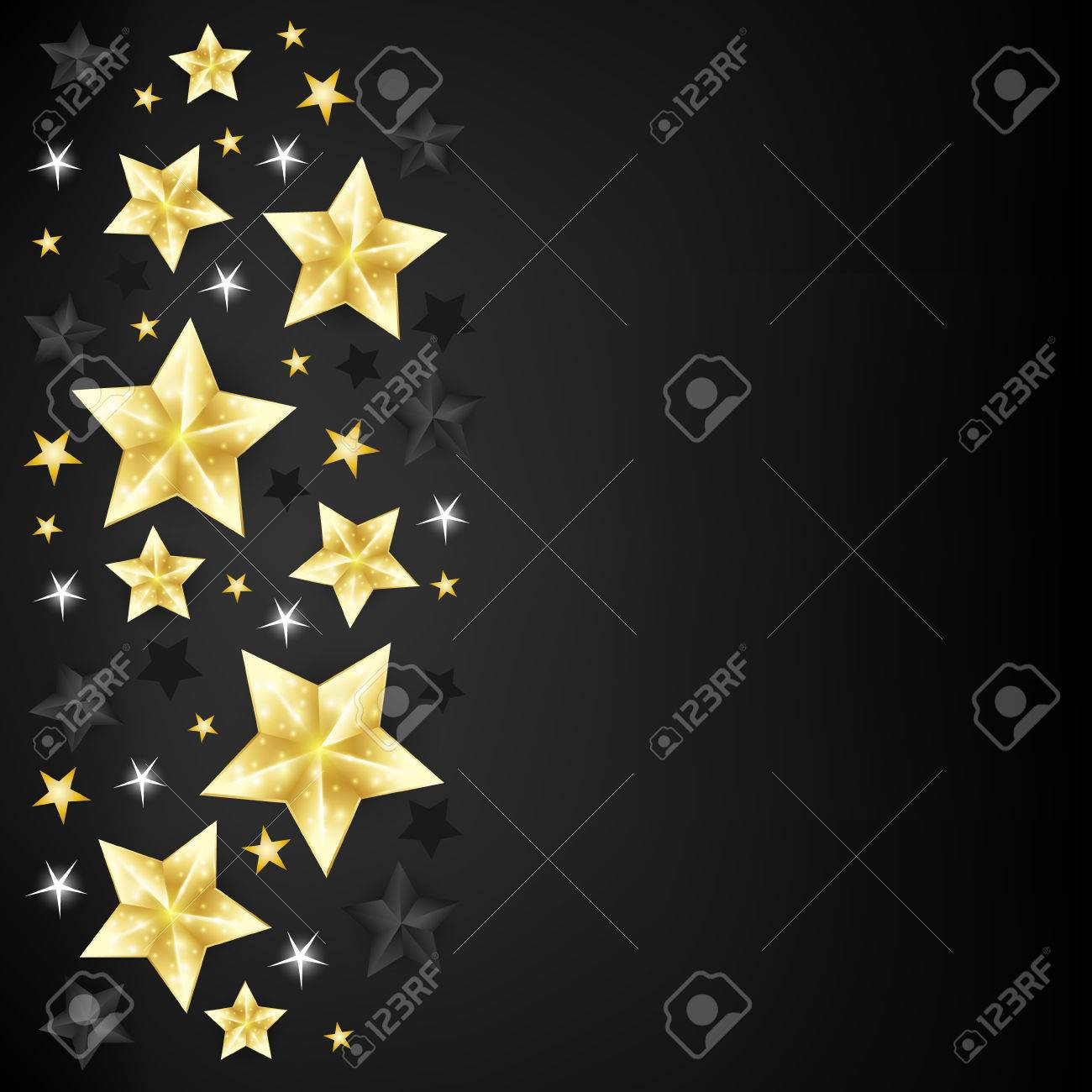 Christmas Background With Border From Gold Black And White Stars On Backdrop Copy