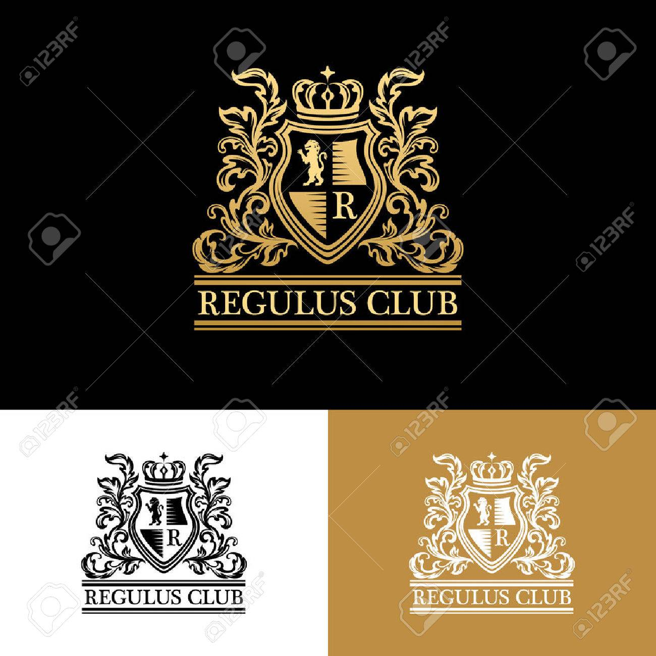 Heraldic Logo Template Vintage Ornamental Emblem With Lion