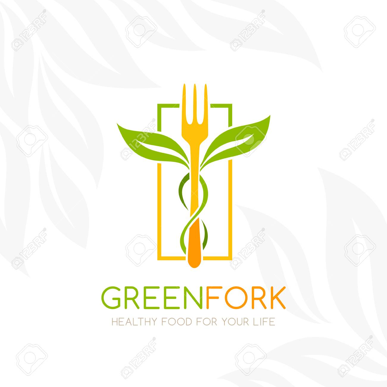 Healthy food logo. Fork with green leaves decoration. Vector icon template for vegan restaurant, diet menu, natural products, family farm. Light background - 69476964