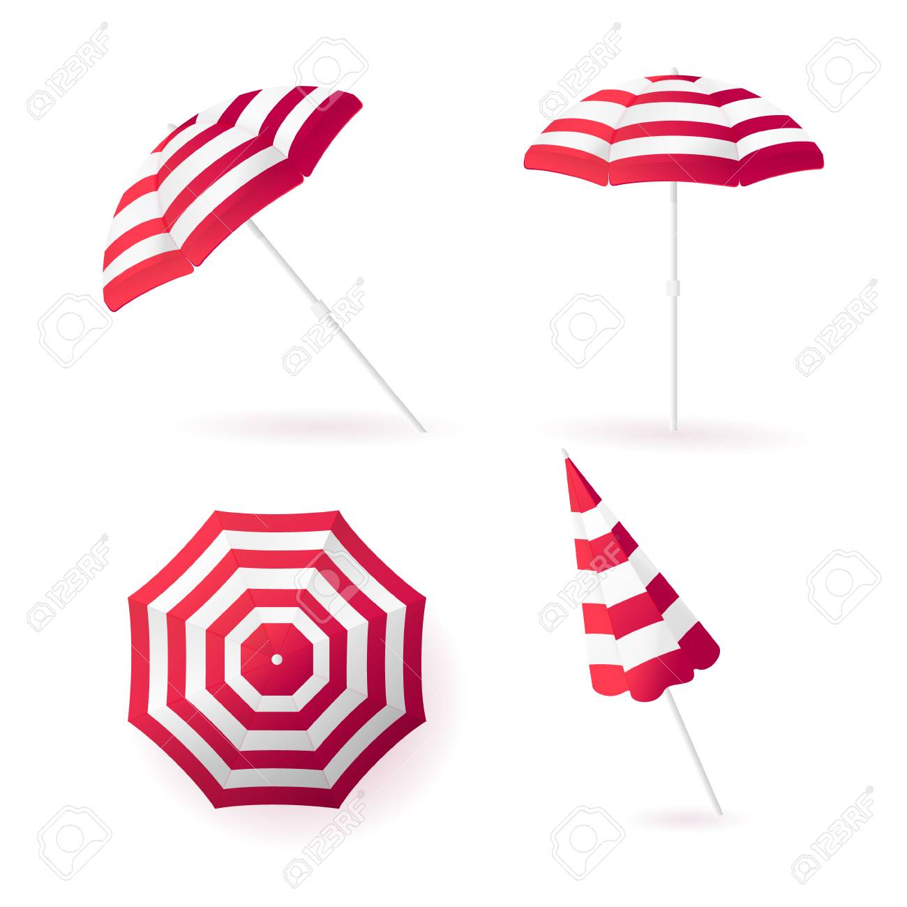 Beach sun umbrellas collection. Red striped awning. Vector illustration.  Stock Vector - 76779029