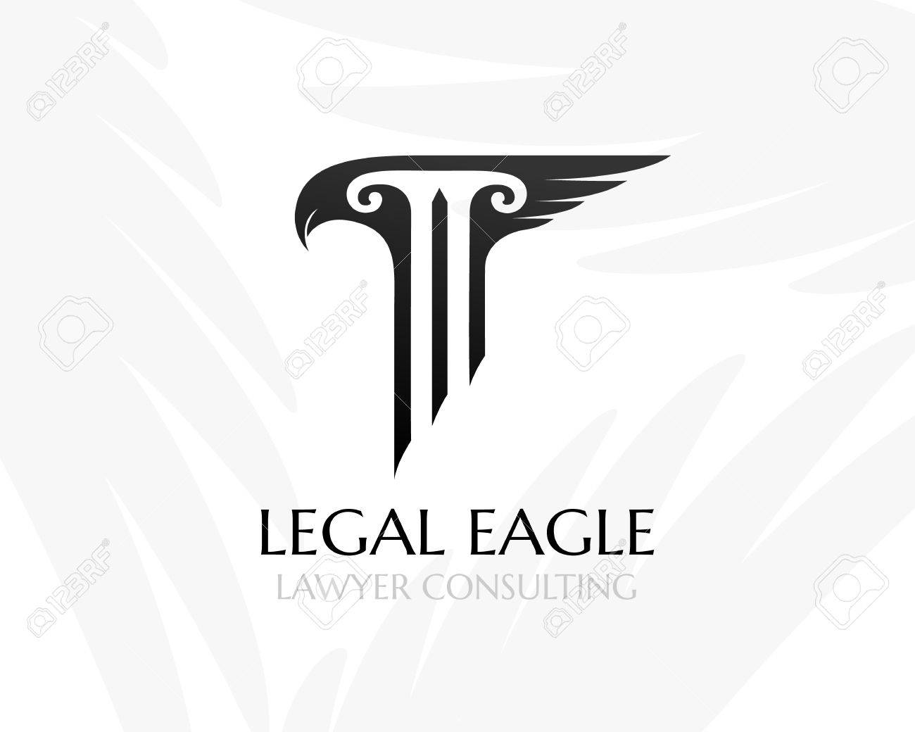 Pillar With Eagle Had And Wing. Law Firm Logo Template. Concept ...