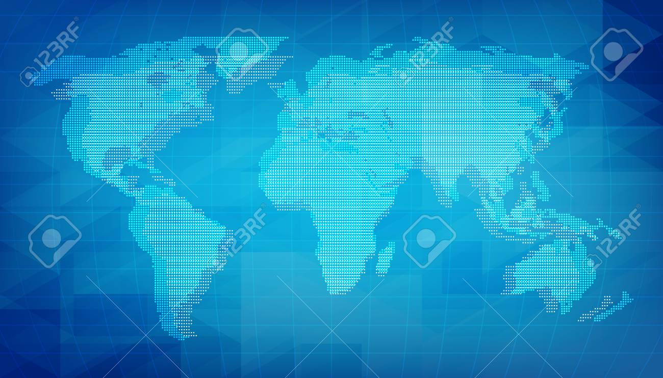 World map of digital grid texture blue abstract background with vector world map of digital grid texture blue abstract background with pixel elements gumiabroncs Choice Image