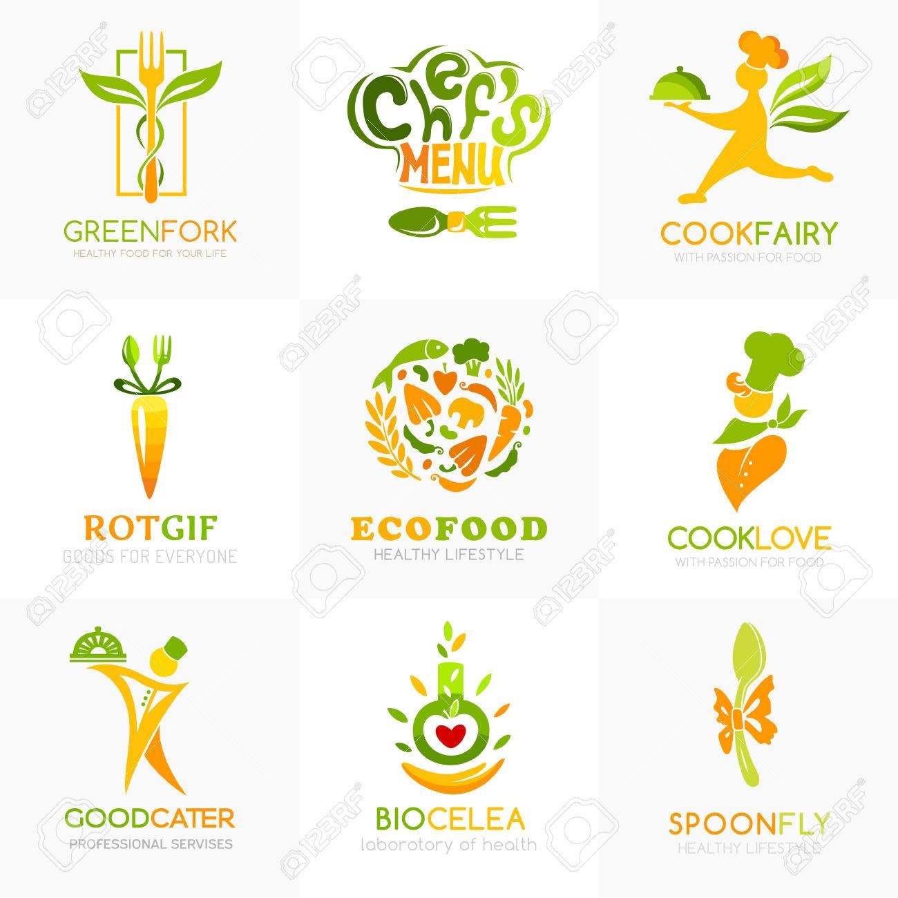 Natural Food Logo Templates Conceptual Icon For Natural Vegan Royalty Free Cliparts Vectors And Stock Illustration Image 76779386