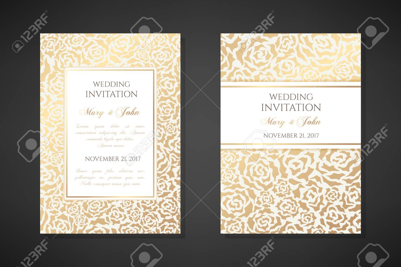 Vintage Wedding Invitation Templates Cover Design With Gold