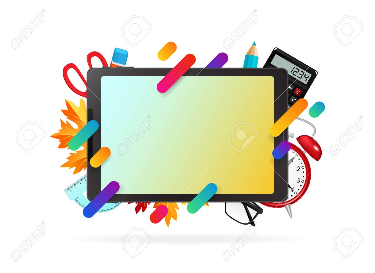 trendy office supplies. Fine Office Tablet With Office Supplies Trendy Gradient Shapes And Copy Space Inside Trendy Office Supplies