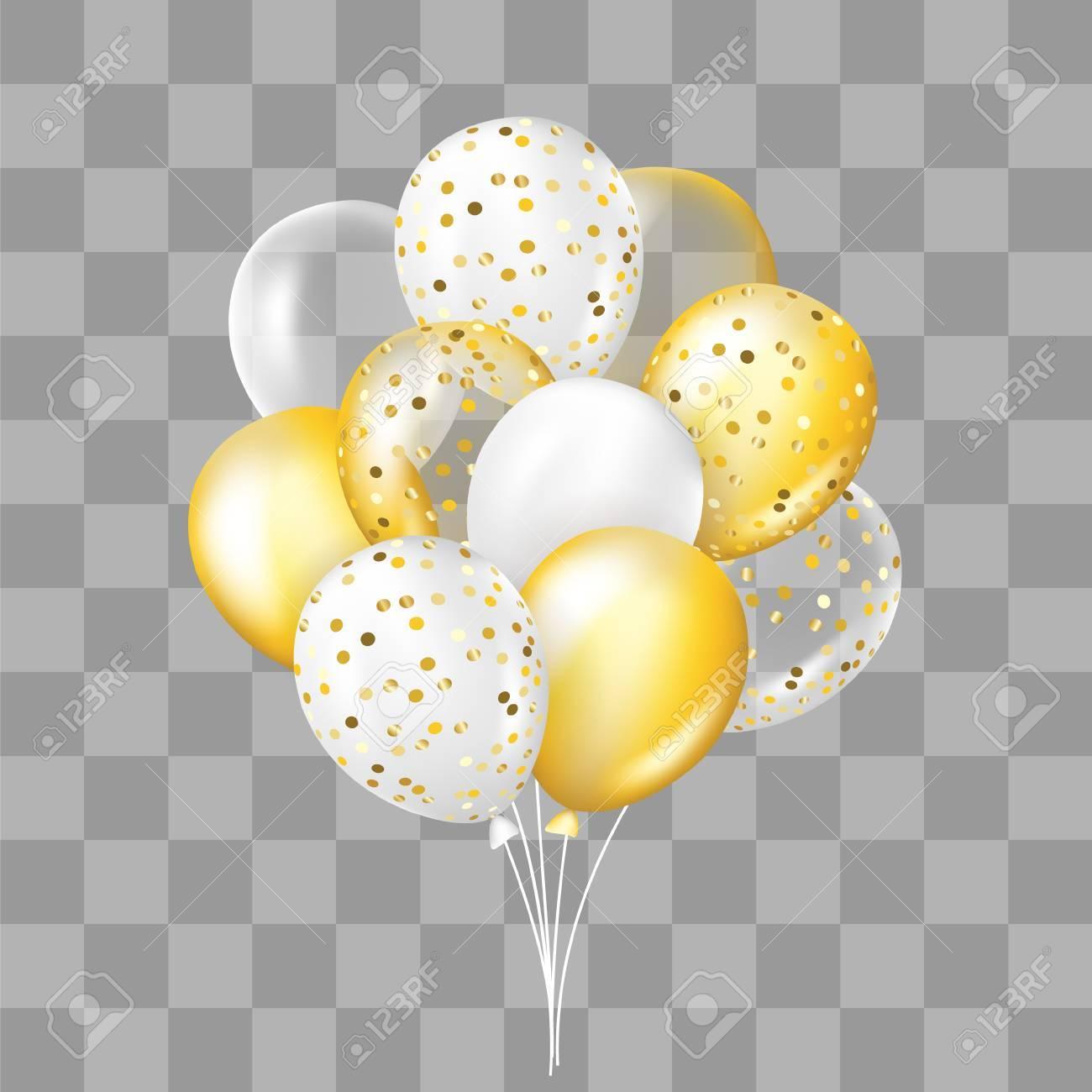 Blanco Y Dorado Transparente Y Con Globos De Confeti Decoraciones En Estilo Realista Para Cumpleaños Aniversario O Diseño De Fiesta