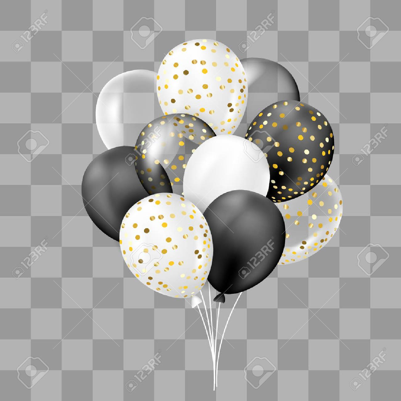 Black and white, transparent and with confetti balloons bunch. Decorations in realistic style for birthday, anniversary or party design. - 82044606