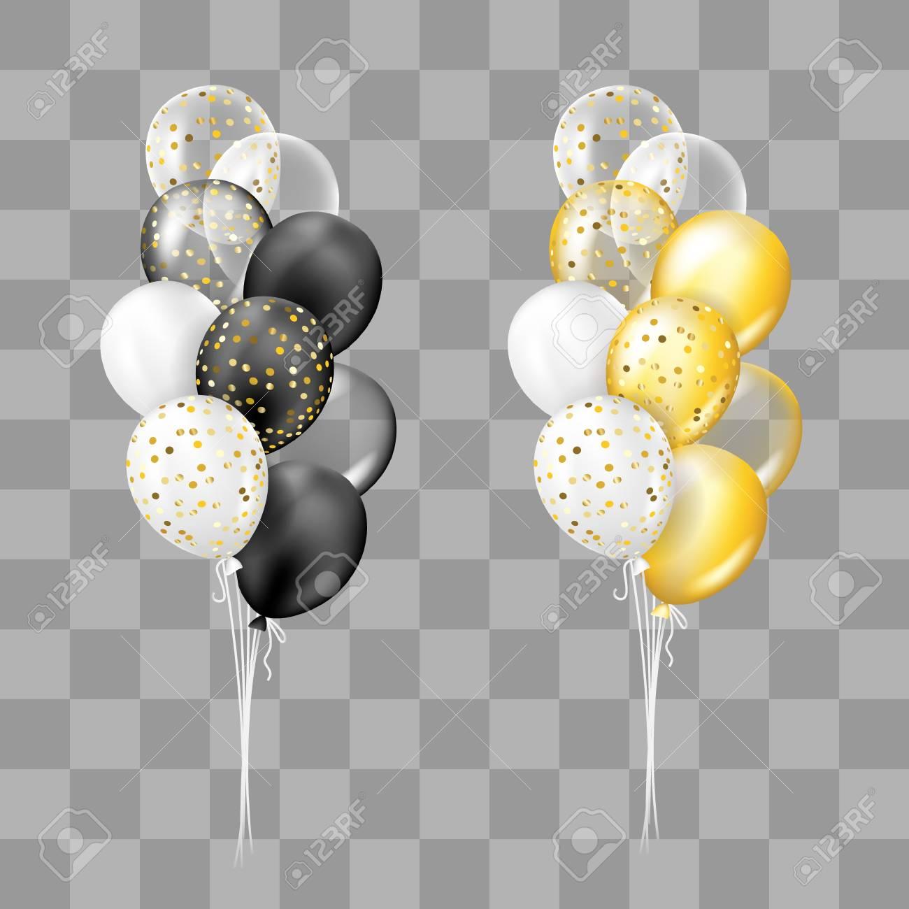 Blanco Y Negro Dorado Y Blanco Transparente Y Con Colección De Globos De Confeti Decoraciones En Estilo Realista Para Cumpleaños Aniversario O