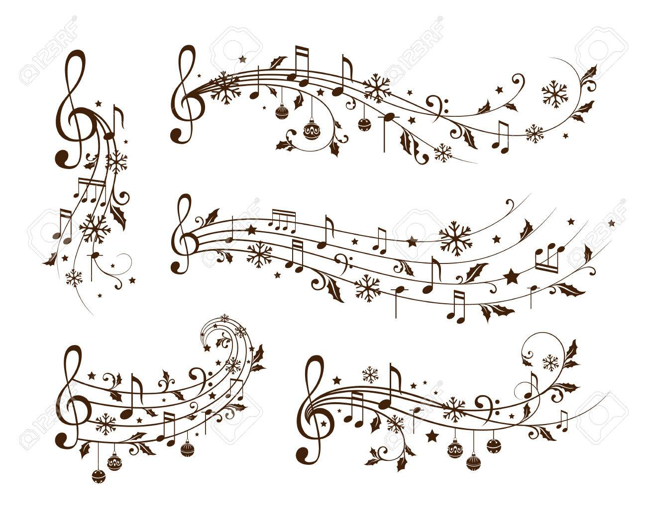 Christmas decoration elements form musical notes, holly leaves and snowflakes. Winter holiday dividers. Monochrome variant - 85121433