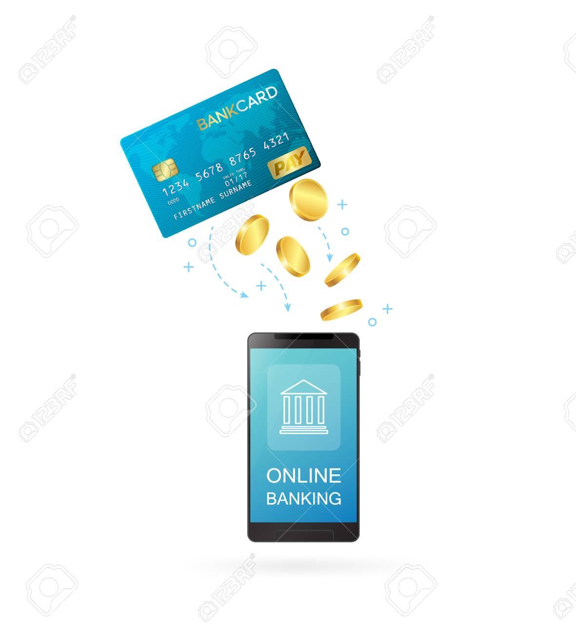 Carte Bancaire Avec Argent.Carte De Credit Avec Smartphone Transfert D Argent Ou Illustration De Vecteur Conceptuel En Ligne Bancaire