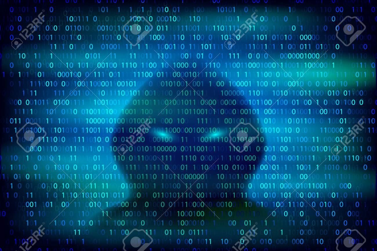 Hacker silhouette on the blue background with binary code texture. Cybercrime and cyber security conceptual vector illustration. - 86726920