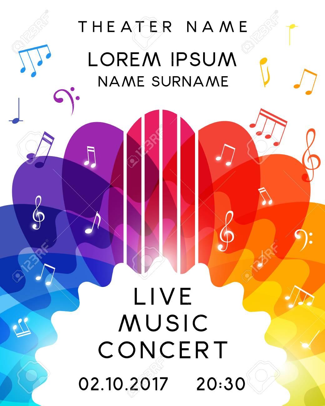 Music concert poster design. Vector template for flyer, banner, invitation. - 86920809