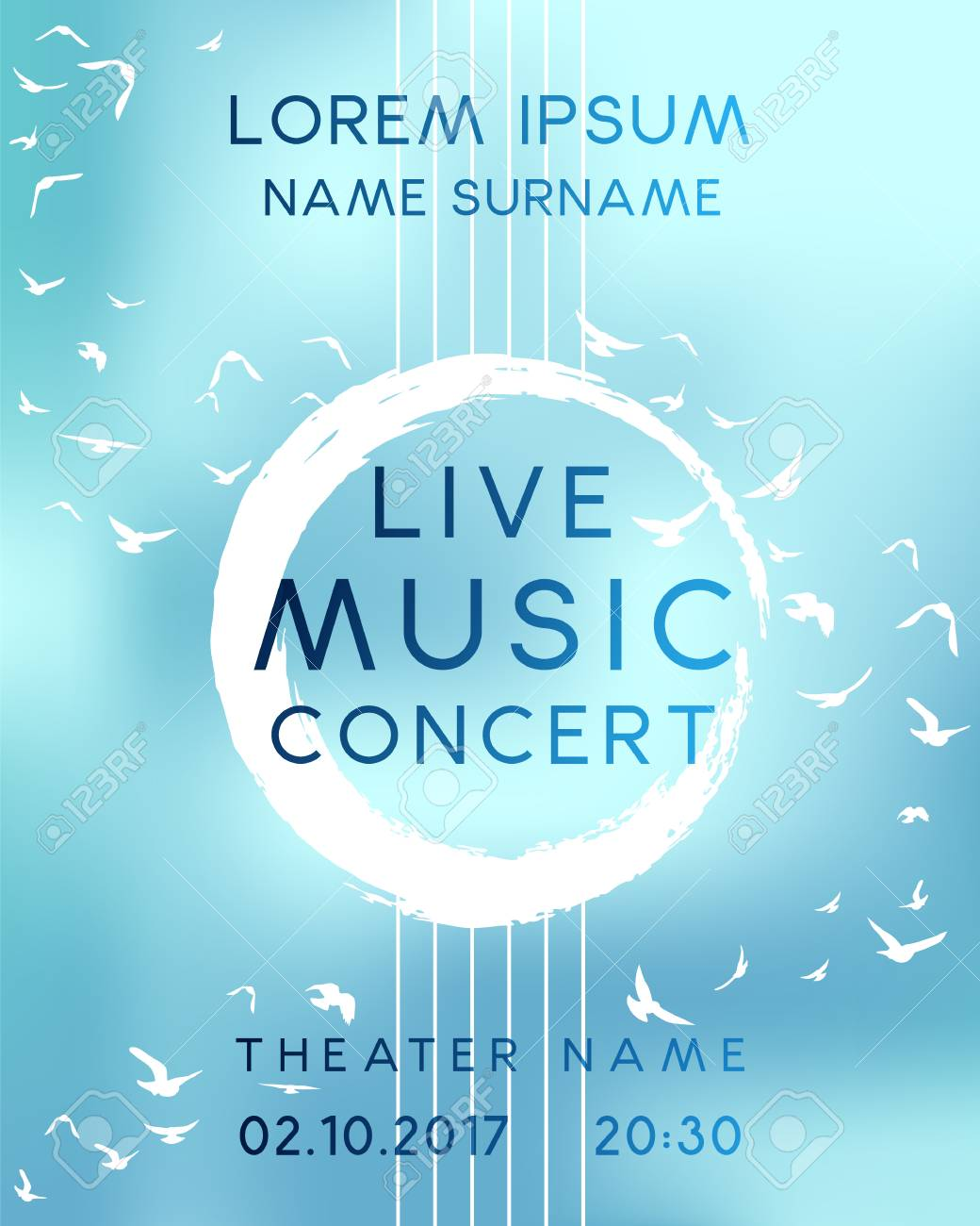 Classical Music Concert Poster Design Vector Template For Flyer Banner Invitation Stock