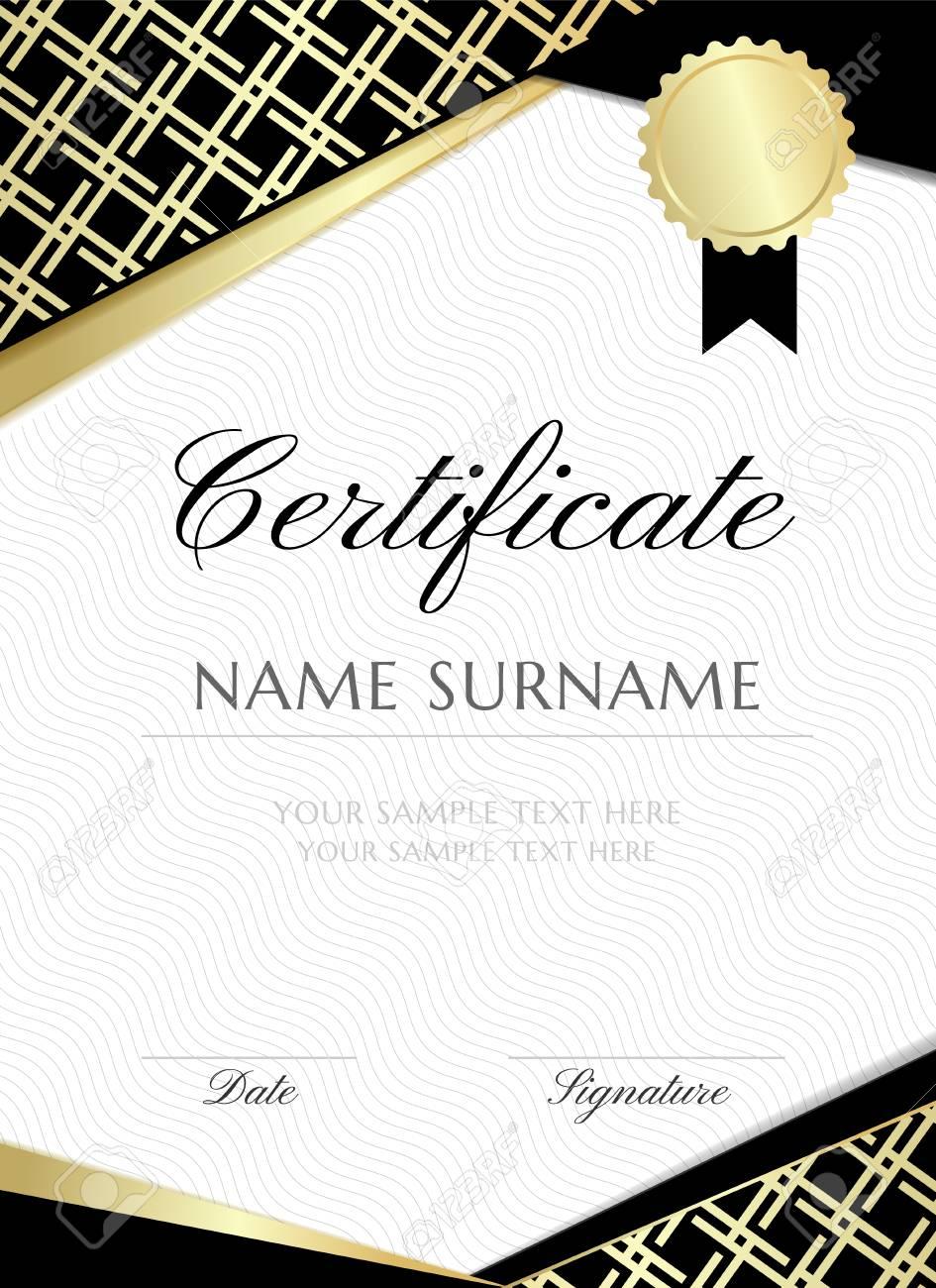 Gold Gride Certificate Design Template Graduation Vertical - Graduation banner template