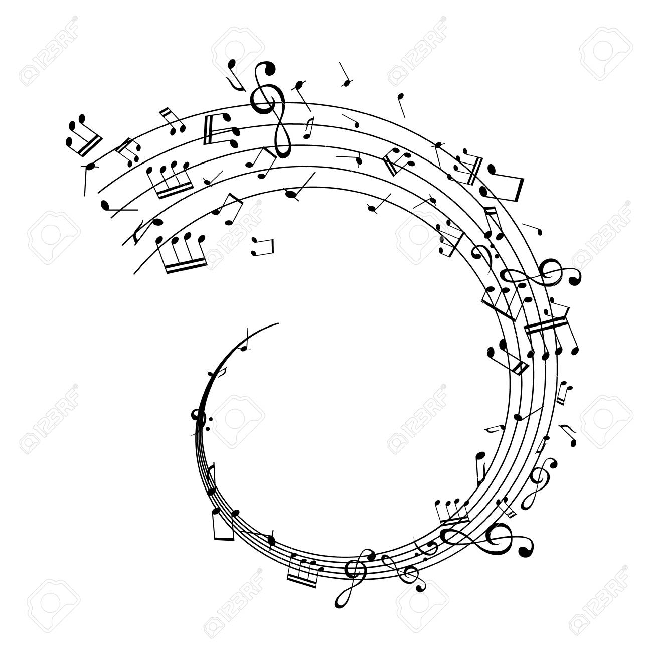 Notes on the swirl. Music decoration element isolated on the white background. - 97019060