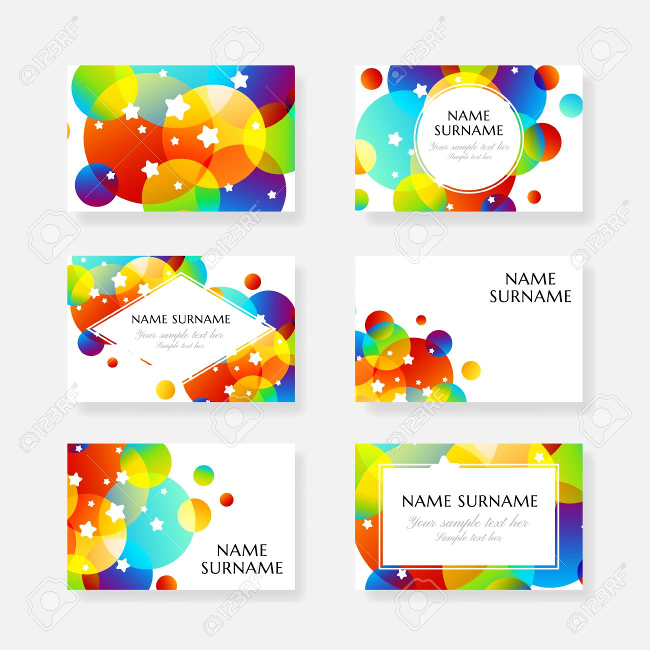 Creative Kids Cards With Colorful Bubble Decoration And Starry ...
