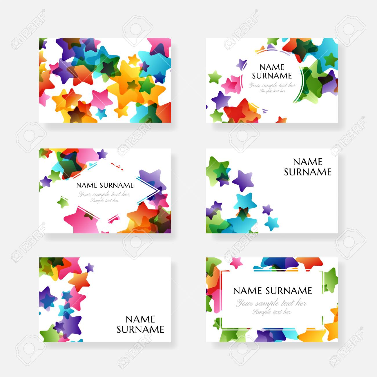 Creative Kids Design Collection. Vector Cards With Colorful Stars ...
