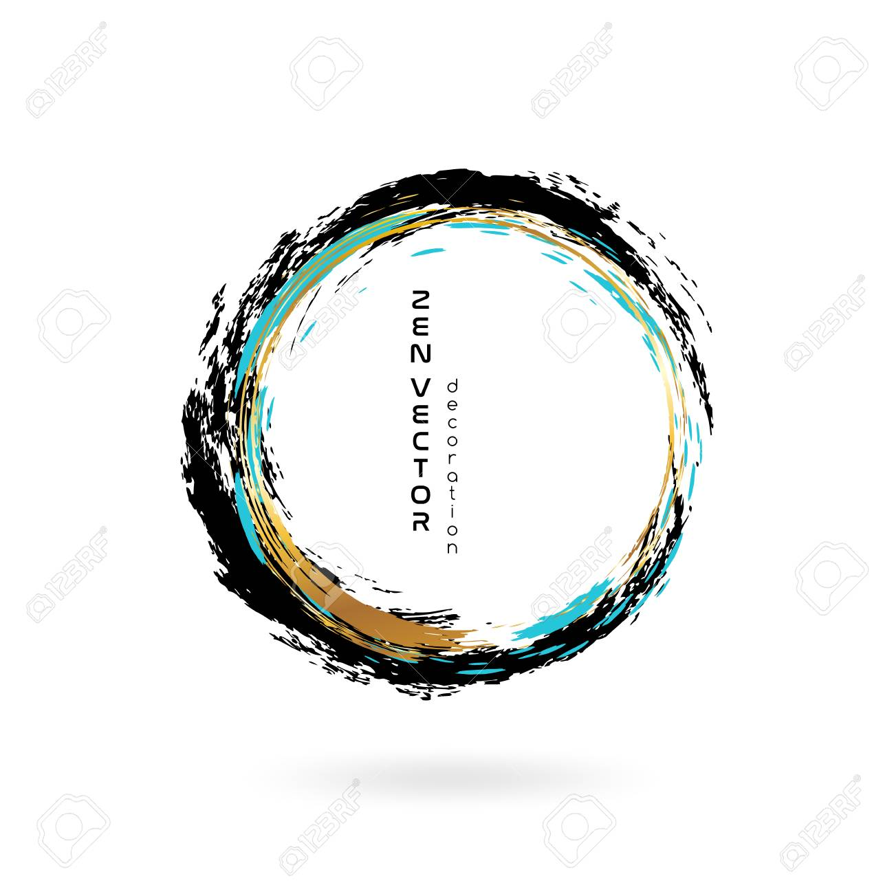 Ink zen circle emblem. Hand drawn abstract decoration element. Black, blue and gold colors. - 97111856
