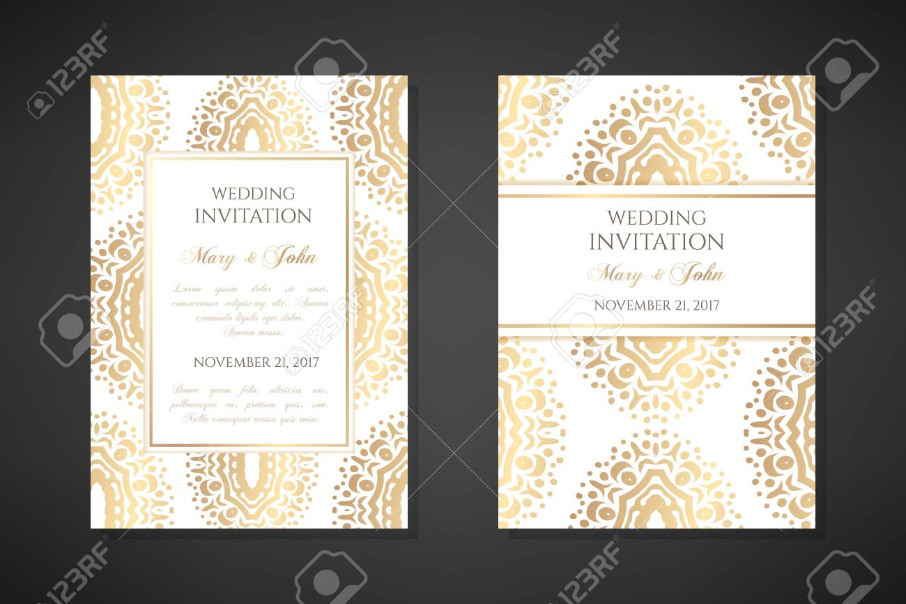 Wedding invitation templates. Cover design with ornaments and white background. Vector decorative vertical posters with copy space .. - 154172895