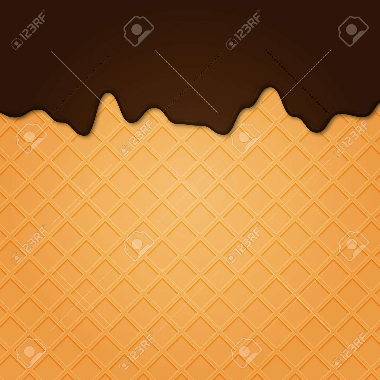 Waffle with liquid glaze. Vector background with waffle texture and chocolate cream border .. - 153863323