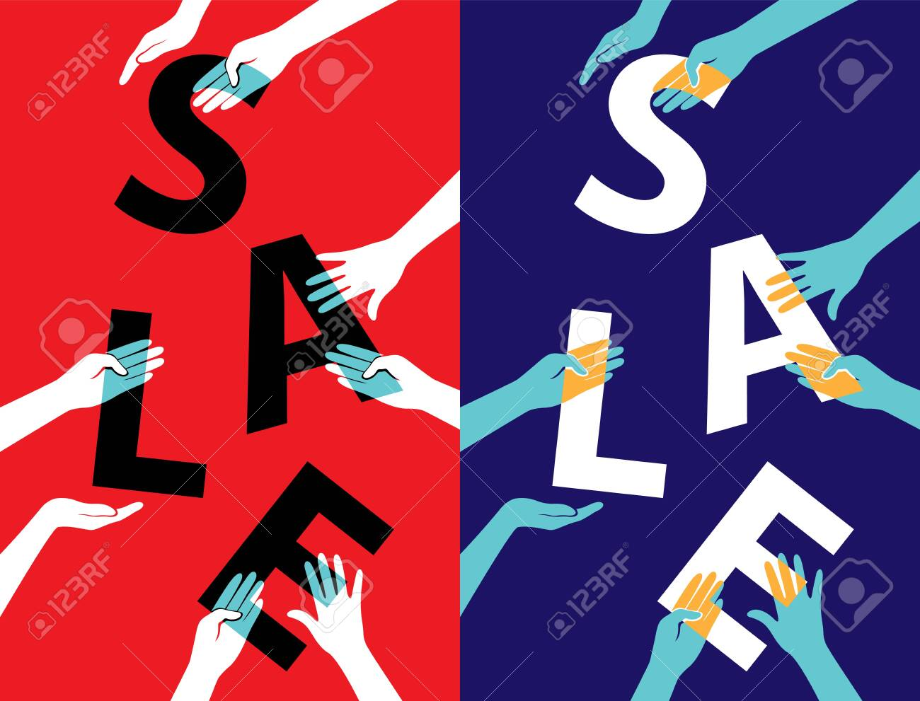 Sale poster with hands holding letters. Vector colorful promotion banner. - 158145330