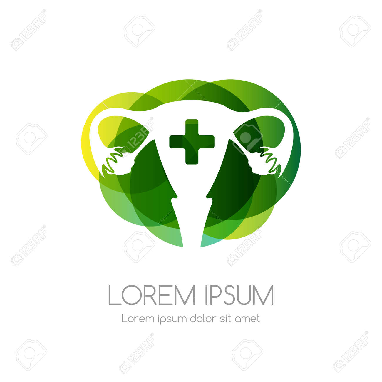 Uterus with cross and green abstract shape. Medical emblem. Health care vector icon. - 158145334