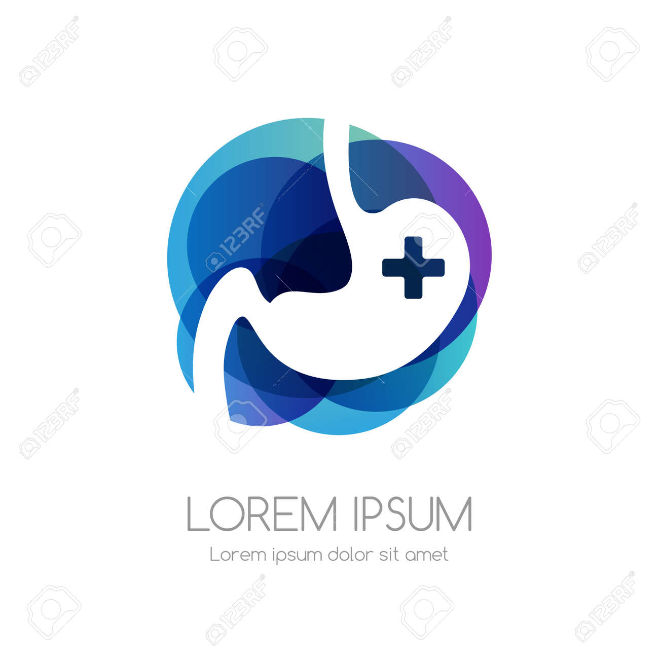 Stomach with cross and blue abstract shape. Medical emblem. Health care vector icon. - 158145342