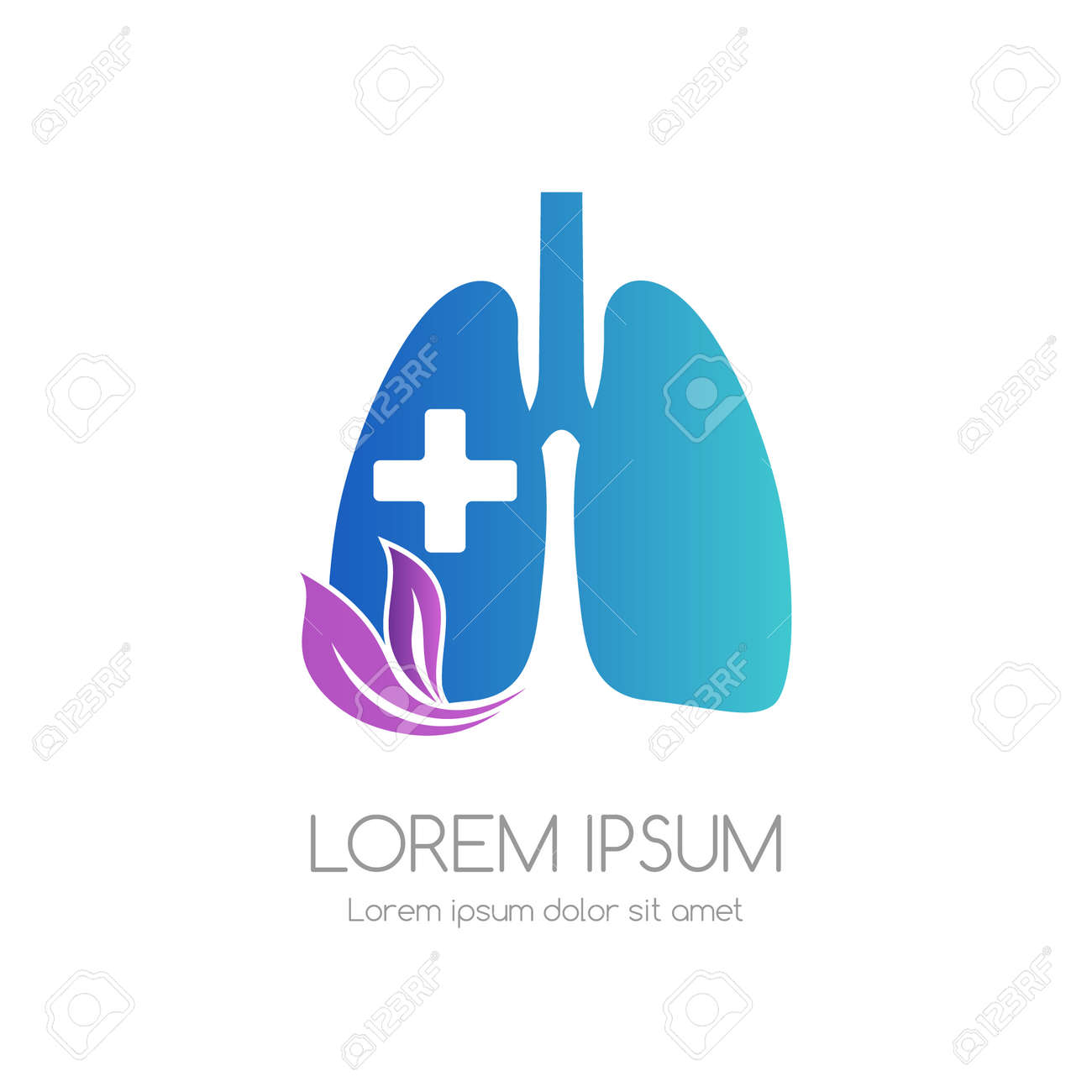 Lung with cross and leaves. Medical emblem. Health care vector icon. - 161687806