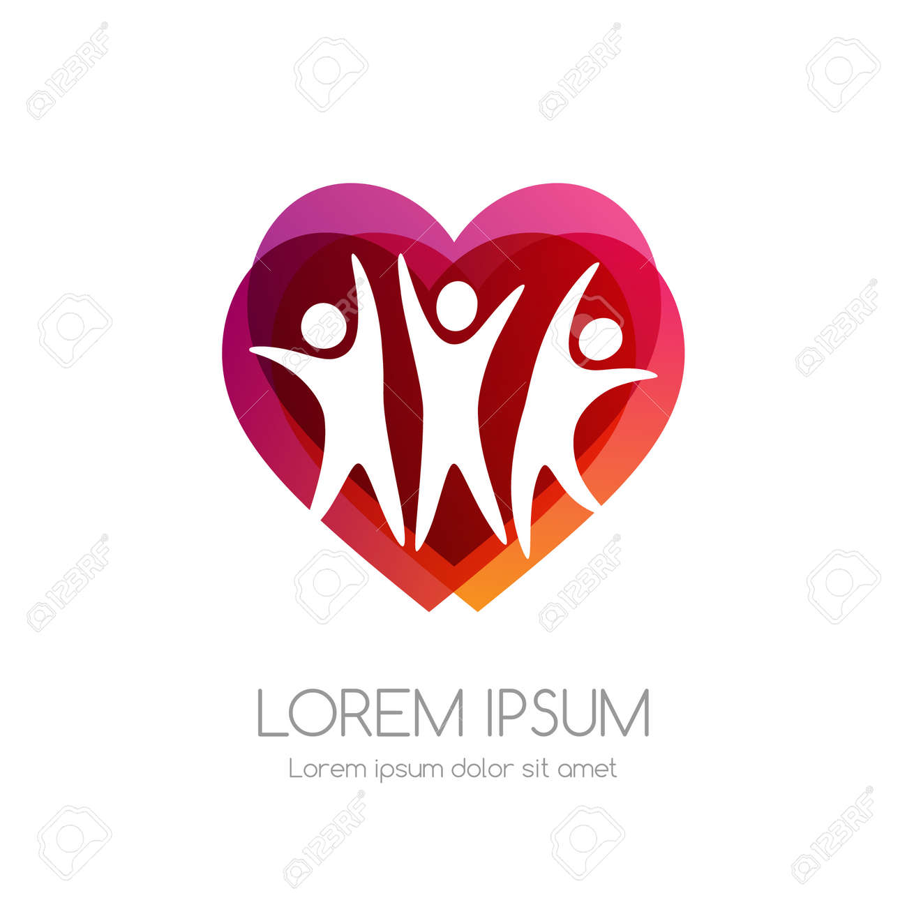 People and red heart shape. Medical emblem. Health care vector icon. - 158145311