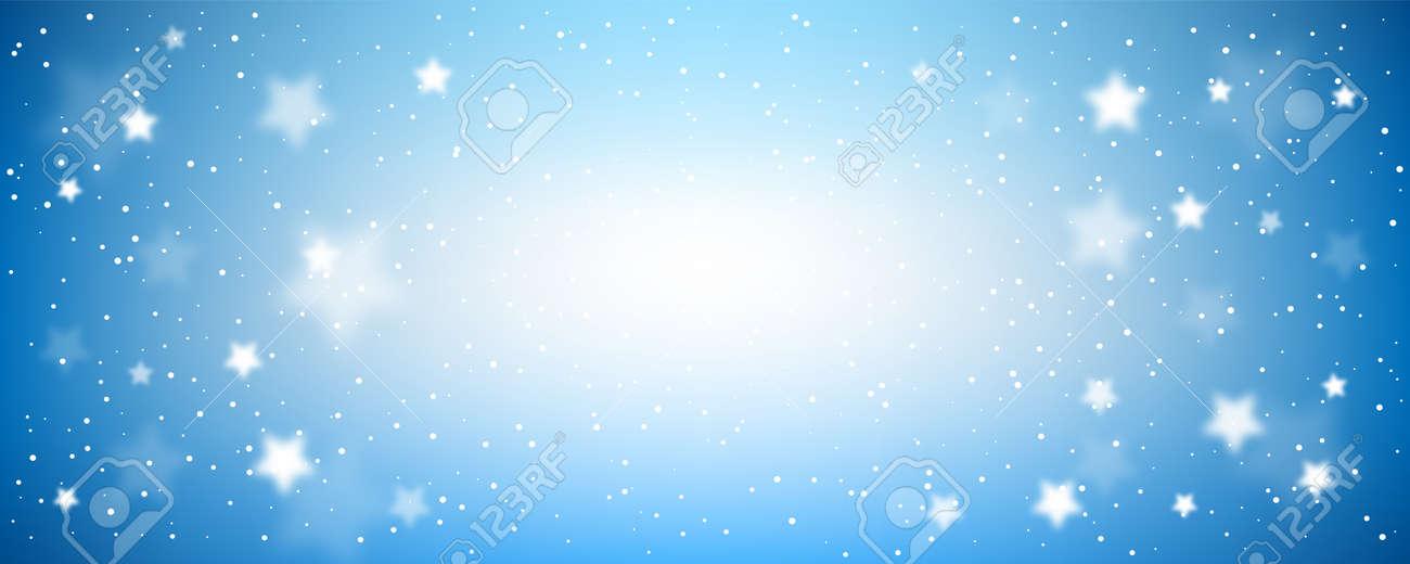 Starry night background. Blue evening sky horizontal banner. - 158134949