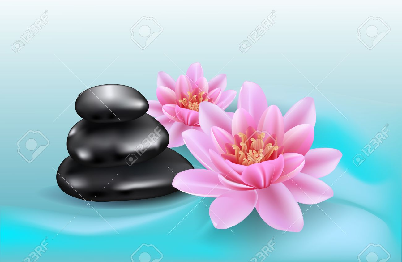 Spa background with lotus flowers and black stones realistic spa background with lotus flowers and black stones realistic lilies and stones abstract wavy izmirmasajfo Gallery