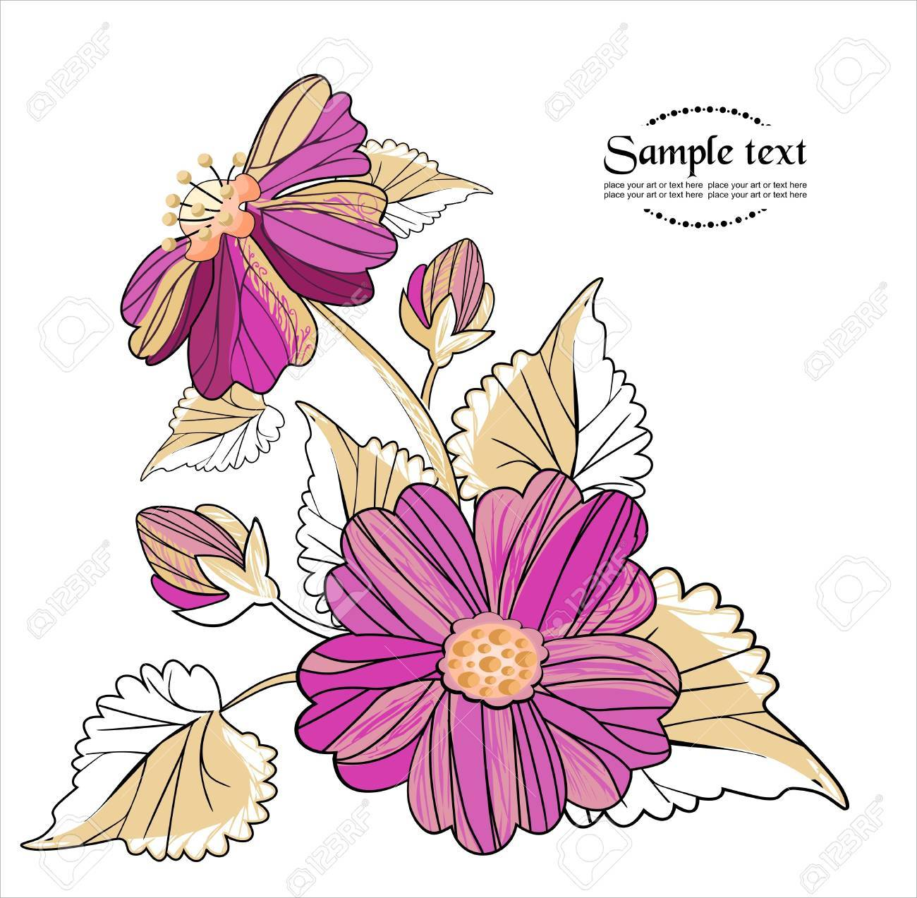 vector background with  flowers in retro style Stock Vector - 9529118